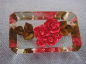 Superb Chunky 1950s Lucite Brooch with Rich  Pinky/Red Flower Detail (SOLD)